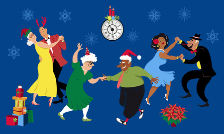 Christmas or New Year party at a retirement community, senior citizens dancing