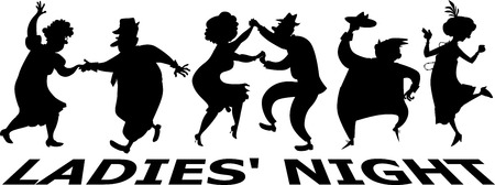 Ladies night at the retirement community, EPS 8 vector silhouette