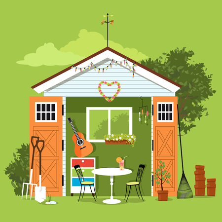 She shed in a garden with a set of furniture, gardening tools and art and craft station, EPS 8 vector illustration