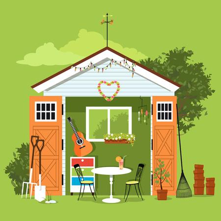 Ze schuurde in een tuin met een set meubels, tuingereedschap en een kunst- en handwerkstation, EPS 8 vectorillustratie