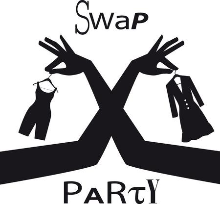 Ruil feestbord met vrouwelijke handen die kledingstukken uitwisselen, EPS 8 vectorsilhouet ex