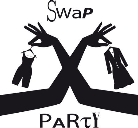 Swap party sign with female hands exchanging clothing items, EPS 8 vector silhouette