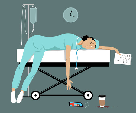 Exhausted overworked female doctor or intern lying on a gurney, her son is calling her on a smartphone, EPS 8 vector illustration Çizim