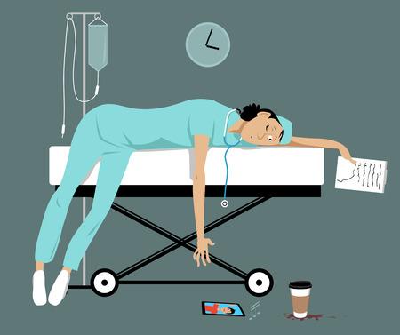 Femme médecin ou stagiaire épuisée et surmenée allongée sur une civière, son fils l'appelle sur un smartphone, illustration vectorielle EPS 8