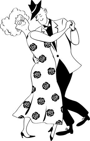 Cute couple of senior citizens dancing waltz, EPS 8 black vector line art, no white objects Illustration