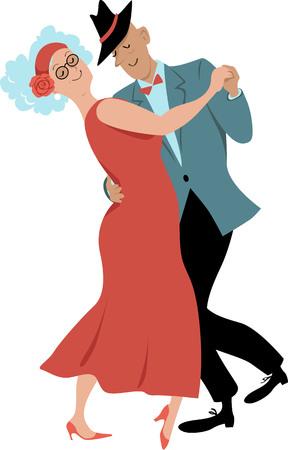 Cute couple of senior citizens dancing waltz, EPS 8 vector illustration