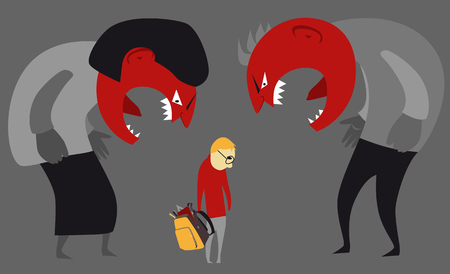 Abusive parents yelling at a child Illustration