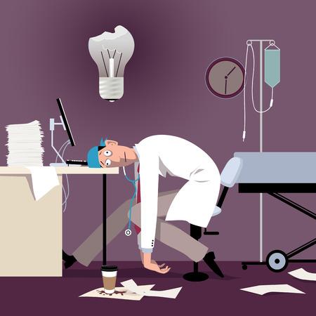 Uitgeputte overwerkte dokter of stagiaire zittend aan de balie in een ziekenhuis, doorgebrande gloeilamp boven zijn hoofd Vector Illustratie