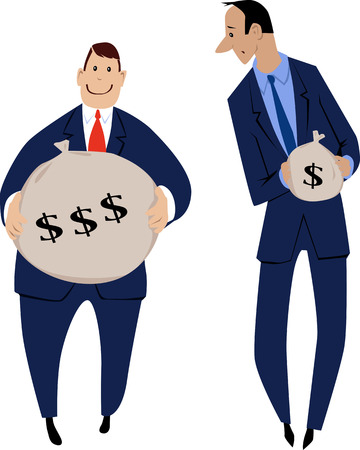 Two businessmen receiving an unequal compensation for the job