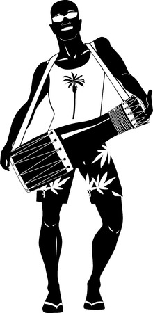 Young man playing bata or bongo drum