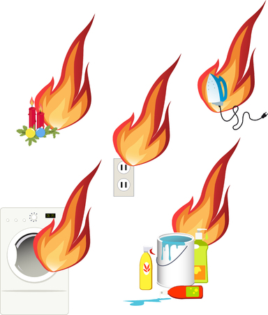 Fire hazards in a house Illustration