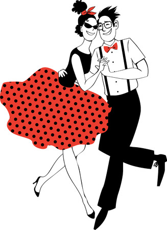 Cartoon couple in vintage clothing dancing rock-and-roll on a vinyl record, EPS 8 vector illustration, no white objects, red is on the separate layer 矢量图像