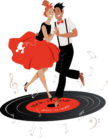 Cartoon couple in vintage clothing dancing rock-and-roll on a vinyl record, EPS 8 vector illustration
