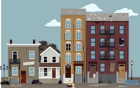 Calle de la ciudad en un vecindario pobre peligroso, ilustración vectorial EPS 8 Ilustración de vector