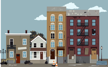 City street at a dangerous poor neighborhood, EPS 8 vector illustration Banque d'images - 112518090