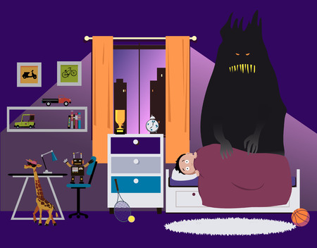 Scared child lying in bed at night, a monster standing next to him, representing nightmares or other psychological issues, EPS 8 vector illustration