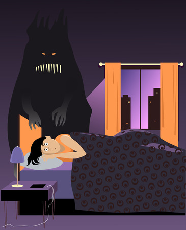 Scared woman lying in bed at night, a monster standing next to her, representing nightmares or other psychological issues, EPS 8 vector illustration