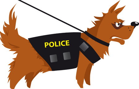 Cartoon police dog detecting drugs or explosives, EPS 8 vector illustration