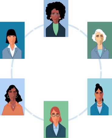 Business women association conceptual illustration, EPS 8 vector illustration