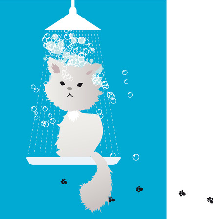 Cute cat sitting under the shower at groomer, covered in foam, EPS 8 vector illustration