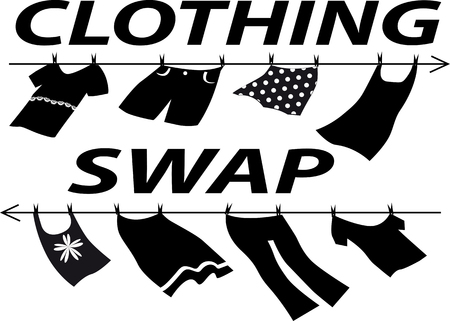 Clothes swap party sign, EPS 8 vector silhouette