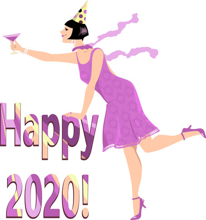 Woman in a flapper outfit standing over Happy 2020 banner with a glass of campaign, EPS 8 vector illustration