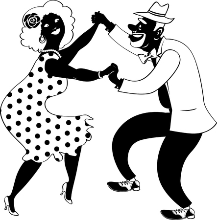 Cute couple of African-American senior citizens dancing, EPS 8 vector illustration, no white objects