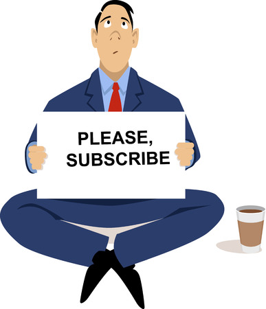Businessman sitting on the street begging to subscribe to his service as a metaphor for problems with subscription business model, EPS 8 vector illustration Illustration