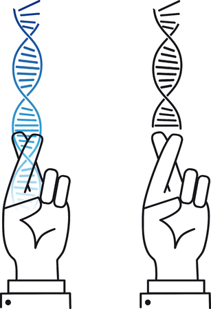 Scientist keeping fingers crossed as a metaphor for risks in gene therapy and genetic engineering, EPS 8 vector, color and black options are on a separate layers