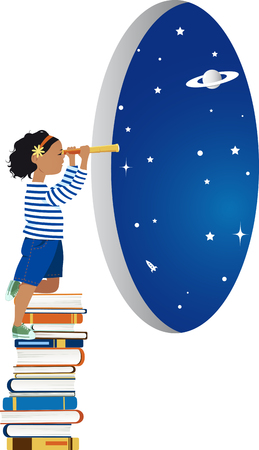 Little girl standing on a pile of books and looking out of window to the space through a telescope, EPS 8 vector illustration