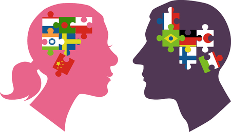 Male and female profiles filled with jigsaw puzzle pieces representing different countries as a metaphor for DNA ancestry research, EPS 8 vector illustration Vectores