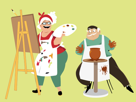 Art class for seniors: an elderly couple participating in painting and pottery activities, EPS 8 vector illustration Illustration