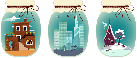 Assorted vacation destinations packages in jars, EPS 8 vector illustration