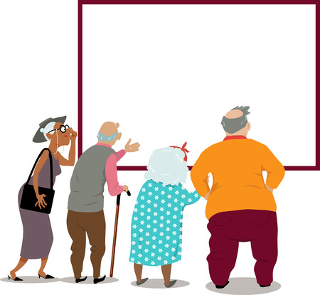 Senior citizens looking at a poster, announcement or in the window, copy space for your text, EPS 8 vector illustration Stock Illustratie