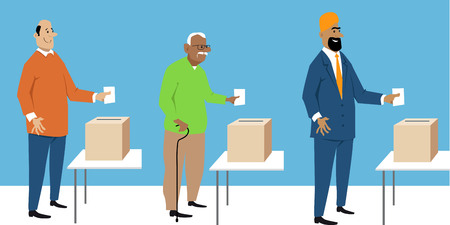 Diverse male voters putting ballot in a box, EPS 8 vector characters 向量圖像
