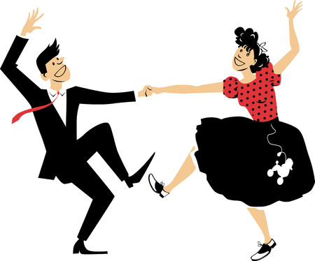 Couple dressed in vintage closes, dancing rock and roll, EPS 8 vector illustration Ilustracje wektorowe