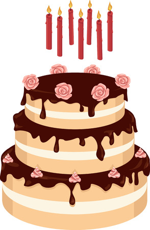 Tiered chocolate cake with cream roses, birthday candles on the separate layer, EPS 8 vector illustration Illusztráció