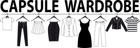 Capsule wardrobe banner, EPS 8 black vector silhouette, no white objects