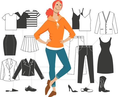 Frau, die vor einem Schema minimalistischer Kombination grundlegender Kleidungsstücke zu Outfits steht, EPS 8-Vektorillustration