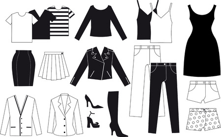 Black and white vector drawing of assorted pieces of womens clothes, EPS 8