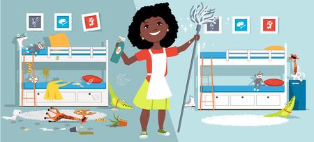 Kleines Mädchen mit Mopp und Reinigungswerkzeugen vor einem Kinderzimmer vor und nach der Reinigung, EPS-Vektorillustration