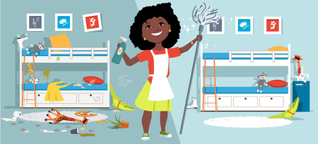 Little girl with a mop and cleaning tools in front of a children bedroom before and after cleaning, EPS vector illustration