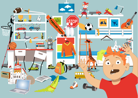 Chłopiec panikuje w wypchanym pokoju ze zbyt wieloma zabawkami, ilustracja wektorowa EPS 8 Ilustracje wektorowe
