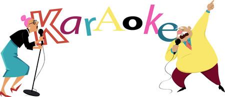 Karaoke at retirement home banner, EPS 8 vector illustration