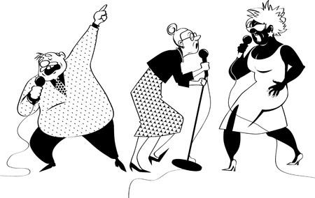 Four vector cartoon characters of senior people singing karaoke, EPS 8 vector illustration Illustration