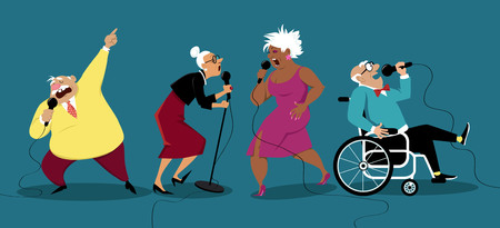 Four senior citizens singing karaoke at retirement home, EPS 8 vector illustration, no transparencies
