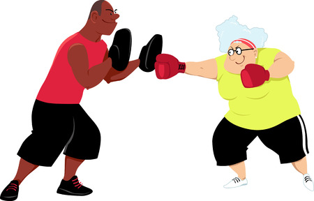 Elderly woman doing boxing mitt drill with a young trainer, EPS 8 vector illustration