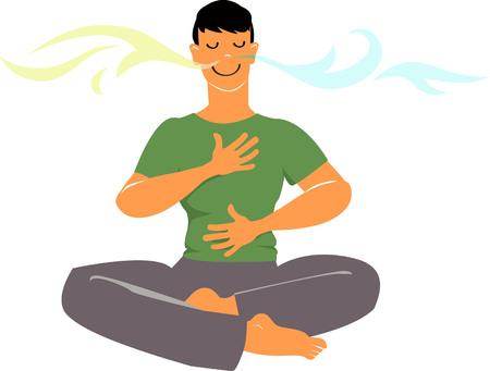 Uomo che pratica esercizi di respirazione, fumetto vettoriale EPS 8 Vettoriali