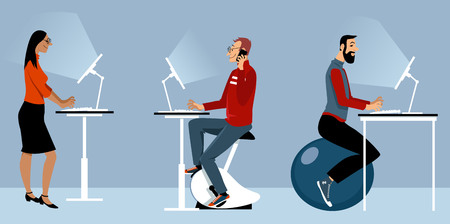 Modern office with alternative desks, including a bike, exercise ball and standing desk, EPS 8 vector illustration