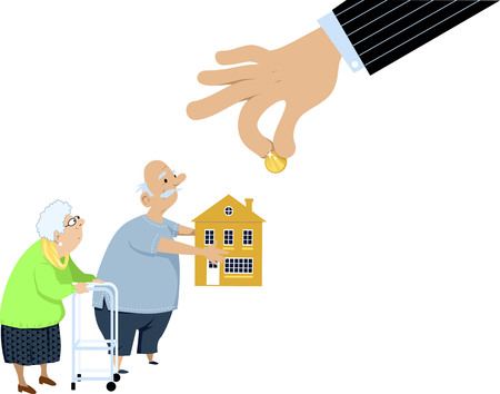 Revese mortgage fraud robbing seniors out of their house, EPS 8 vector illustration